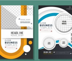 Business flyer templates dynamic colorful modern decor vector design