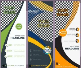 Company banners templates colorful modern abstract checkered decor vector design