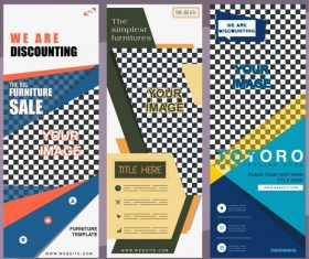Corporate poster templates modern flat checkered decor vector