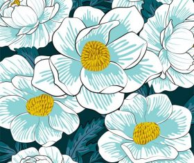 Flowers painting colored classical closeup shiny vector