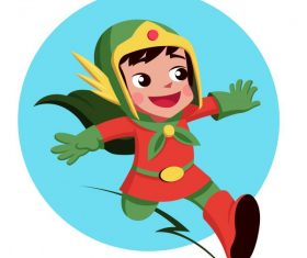 Hero girl superwoman costume cartoon character vectors