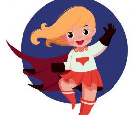 Super kid cute girl cartoon character design vector