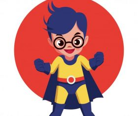 Hero kid superman costume cute cartoon character vector