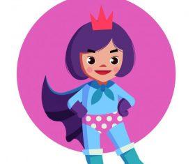 Kid superwoman cute cartoon character vector design