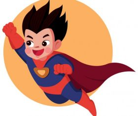 Kid superman flying cute cartoon character vector graphics