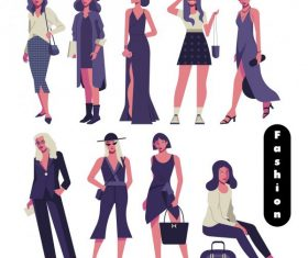 Fashion models icons modern elegant cartoon characters vector