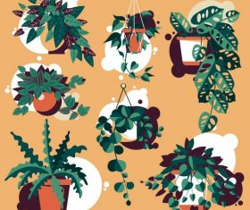 Decorative plant pot icons colored vector