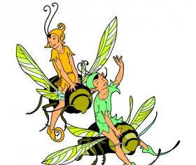 Fairy riding honey bee vector