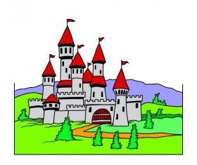 Cartoon castle vector design