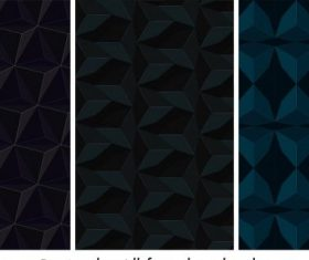 Technology abstract background dark repeating 3d illusion shapes vector set
