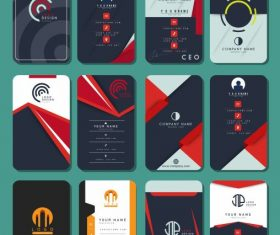 Business cards templates collection colorful vertical vector