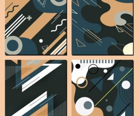 Abstract backgrounds flat colorful messy geometric decor vector