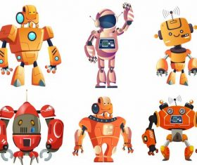 Robots icons colored modern humanoid design vector