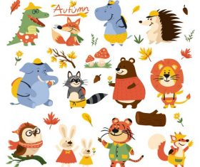 Autumn icons stylized animals leaf cartoon vector