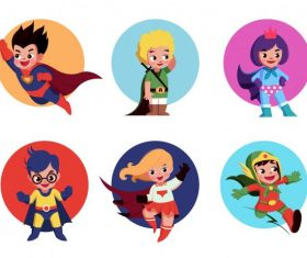 Super kids icons cute cartoon characters vector