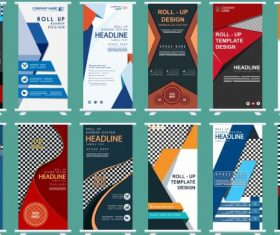 Business banners collection colorful modern standee shape vector