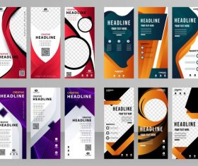 Corporate banners templates modern colorful decor vector