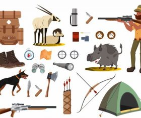 Hunting elements hunter tools animals vector design