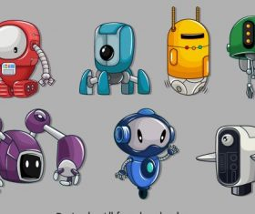 Robot icons colored modern shiny vector