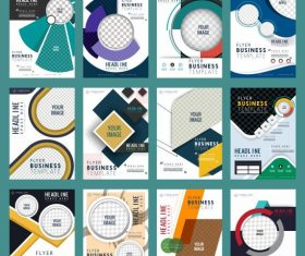 Corporate flyers templates collection colorful modern vector