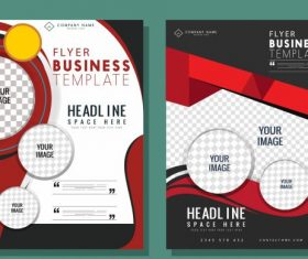 Business flyer templates modern elegant checkered decor vectors