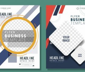 Business flyer templates modern bright checkered decor vector