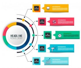 Infographic templates colorful modern flat geometric vectors material