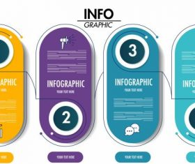 Infographic template modern colored vertical rounded sticker shapes shiny vector