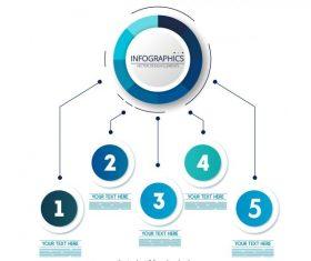 Infographic template modern shiny blue circles decor vector