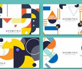 Abstract background templates colorful flat geometric decor vector