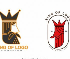 King logo templates flat handdrawn illustration vector