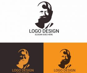 Logotype template man face silhouette vector design