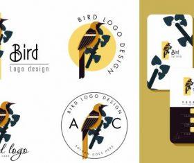 Bird logo templates colored flat decor vector