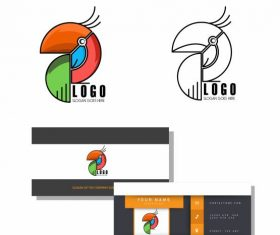 Logo template abstract parrot emblem flat geometric vector