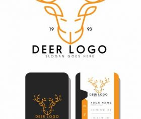 Business card logotype reindeer head symmetric handdrawn vectors material