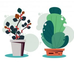 Decorative houseplant icons colored classical flat vector design