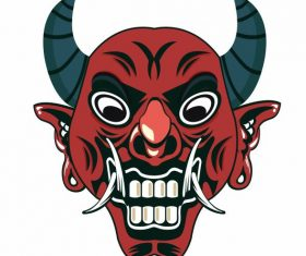 Devil mask frightening face vector