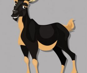 Farm goat colored cartoon shiny vector