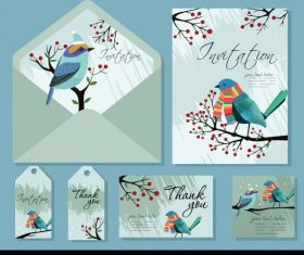 Invitation card templates natural bird tree decor vector