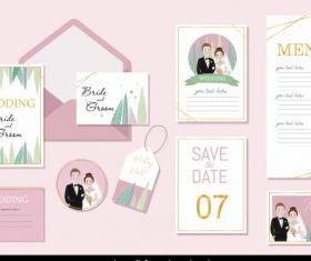 Wedding templates bride groom decor colorful romance vector