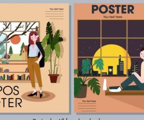 Home decor posters furniture person cartoon vector