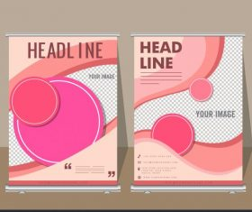 Corporate banner templates pink circles curves decor vector