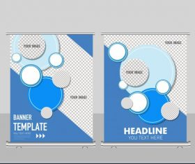 Business banner template flat checkered circles decor vector