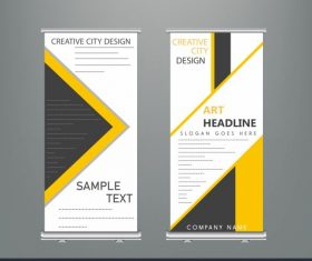 Corporate banner templates colored flat modern geometric decor vector