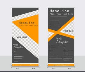 Company banner templates elegant dark triangle checkered decor design vector