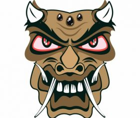 Traditional mask frightening devil horned face vector