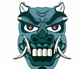 Devil mask horrible horned fang face vector