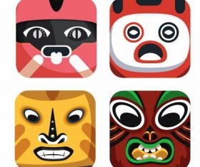 Traditional masks icons colorful emotional vector