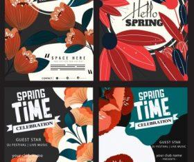 Spring poster templates blossom flora decor colorful vectors