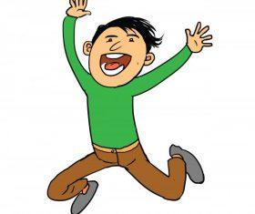 Kid very happy jumping cartoon vector